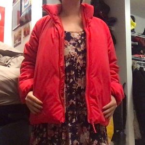 Red UNIQLO Puffer Parka with Detachable Hood